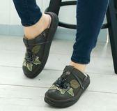 newMODO/包拖兩用-立體電繡款-THE ONE 氣墊鞋(全牛皮)-G11312 草綠