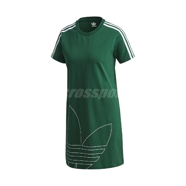 adidas 洋裝 Adicolor TDress 綠 白 女款 短T 長版 運動休閒 【ACS】 GJ6583