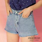 單寧 短褲 Space Picnic|現+預.下擺抽鬚設計單寧短褲【C18063075】