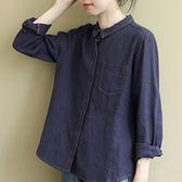 棉麻襯衫 翻領拼接襯衫 純色長袖上衣-夢想家-0903