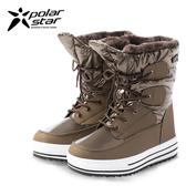 PolarStar 女 防潑水 保暖雪鞋│雪靴『銅金』 P16656 (內厚鋪毛/ 防滑鞋底) 雪地靴.雪地必備