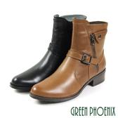 U21-29508 女款全真皮工程靴   反摺皮帶扣渲染裝飾拉鍊全真皮工程靴/短靴【GREEN PHOENIX】