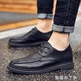 休閒皮鞋男秋季韓版豆豆鞋男鞋子英倫男士布洛克小青年百搭潮鞋男  一米陽光