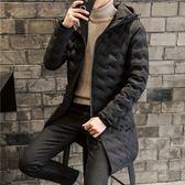 夾克外套-連帽中長版波浪紋理休閒夾棉男外套2色73qa33[時尚巴黎]