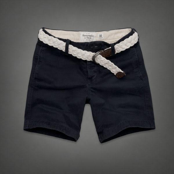 BJGO) Abercrombie & Fitch_A&F PREPPY FIT SHORTS 經典麋鹿附腰帶休閒短褲/工作褲  2013 新品現貨