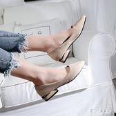 大尺碼女鞋41-43單鞋女夏新款胖腳寬肥百搭低跟特大號高跟鞋40cp880【甜心小妮童裝】