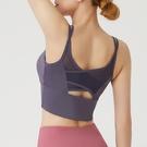 運動背心 運動內衣女防震高強度瑜伽健身服背心式細帶網紗美背性感聚攏文胸