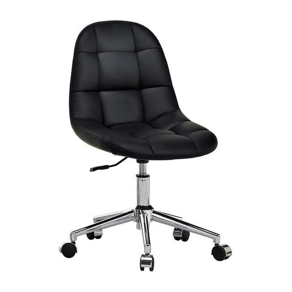【森可家居】小而巧黑色造型轉椅 7JX286-5 電腦椅 辦公椅
