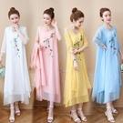 民族風連身裙 女裝棉麻寬鬆刺繡兩件套民族風大碼七分袖洋裝中長裙套裝-Ballet朵朵