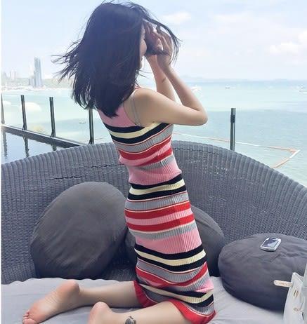 EASON SHOP(GU5225)無袖內搭背心裙條紋連身裙長版洋裝針織坑條毛線包臀裙韓版女裝彈力貼身