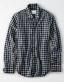 (BJGO) AMERICAN EAGLE_男裝_AE PLAID POPLIN BUTTON-DOWN SHIRT美國AE格紋長袖襯衫 最新代購
