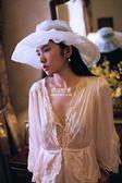 復古歐根紗可折疊拆卸寬檐帽赫本風出游凹造型百搭帽  伊莎公主