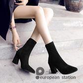 短靴/高跟子女馬丁靴英倫風新款春秋單靴粗跟中筒黑色瘦瘦靴「歐洲站」