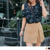 OrangeBear《BA4052》開衩設計質感純色假兩件短褲裙--適 XL~4L