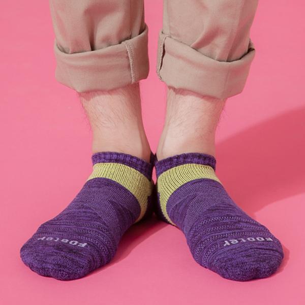 Footer 除臭襪 繽紛花紗輕壓力足弓船短襪(男)T108L-紫 24-27cm
