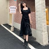 長袖洋裝連身裙M-4XL中大尺碼法式泡泡袖黑色連衣裙設計感小眾荷葉邊裙子GB407.2213胖胖唯依