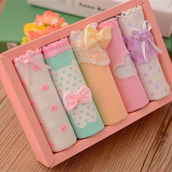 混色系可愛少女純棉三角低腰內褲禮盒裝 YX1250『小美日記』