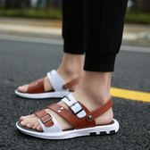 涼鞋男新款夏季韓版學生個性軟底拖鞋潮流越南休閒沙灘鞋兩用  卡布奇诺