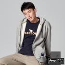 【JEEP】男裝休閒保暖抽繩連帽外套-灰白