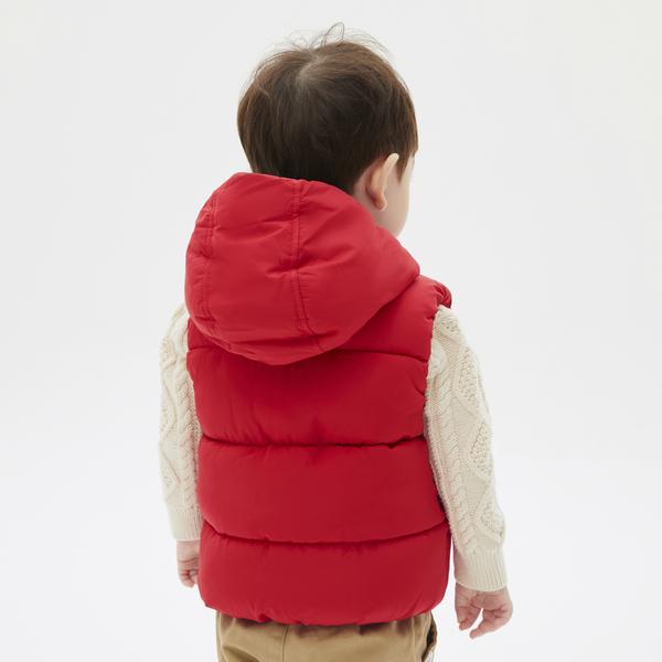 Gap嬰兒 活力亮色絎縫連帽棉背心 592812-紅色