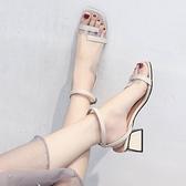 凉鞋-網紅仙女風涼鞋2021春新款韓版百搭粗跟一字帶小清新高跟羅馬鞋女