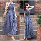 促銷價不退換長裙長洋裝無袖洋裝波西米亞連身裙碎花裙背心裙收腰裙2F071-A.1080皇潮天下