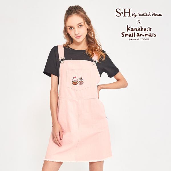 【Scottish House】 卡娜赫拉的小動物 聯名 甜點刺繡 粉紅色 牛仔 吊帶短裙 (XD2303)