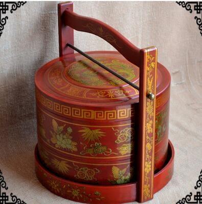 仿古復古手提籃木質仿古手提食盒點心結婚糖果盒飯盒結婚攝影道具