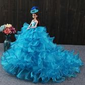大號芭芘比洋娃娃公主大禮盒3D高端婚紗拖尾兒童玩具女童生日新年禮物【1件免運】