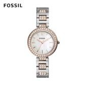 FOSSIL Karli 雙色鑲鑽鍊錶 34mm 女 BQ3337