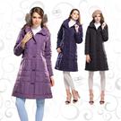 【SAMLIX 山力士】女 摩登羽絨長大衣(#1065黑色.紫色.淺紫色)