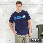 【JEEP】造型文字轉印短袖TEE-深藍