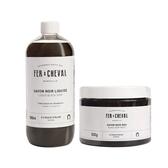 Fer à Cheval 法拉夏 經典馬賽黑皂清潔組【BG Shop】黑皂液500ml+黑皂膏