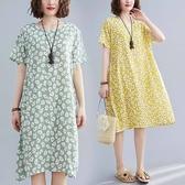 棉綢小花印花圓領洋裝-中大尺碼 獨具衣格 J2736