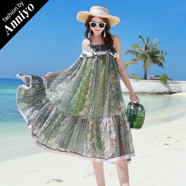 Anniyo安妞‧波希米亞細肩帶荷葉邊寬鬆民族風印花碎花雪紡海邊度假沙灘裙中長裙長洋裝 綠碎花