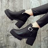 粗跟馬丁靴女2019新款秋冬季加絨百搭女鞋英倫風瘦瘦靴高跟短靴子