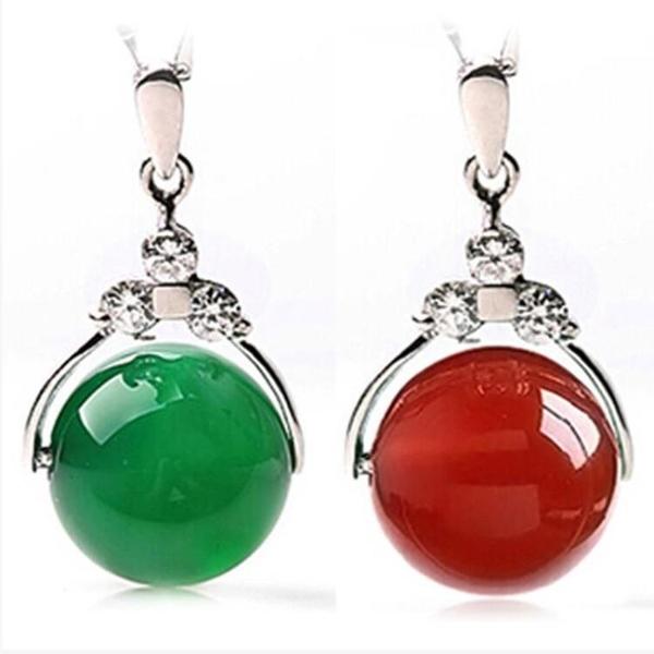 天然水晶紅瑪瑙玉髓轉運珠項鏈女款玉墜吊墜925銀鎖骨鏈生日禮物