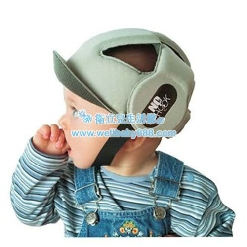 OKBABY 寶寶護頭帽(灰色/藍色)F006[衛立兒生活館]