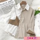 長袖襯衫 春裝2021年新款假兩件襯衫上衣女設計感小眾疊穿別致秋冬長袖襯衣 源治良品