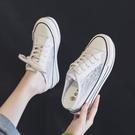 8CM厚底內增高帆布鞋女夏季韓版學生蕾絲網紗小白鞋百搭透氣網鞋 快速出貨