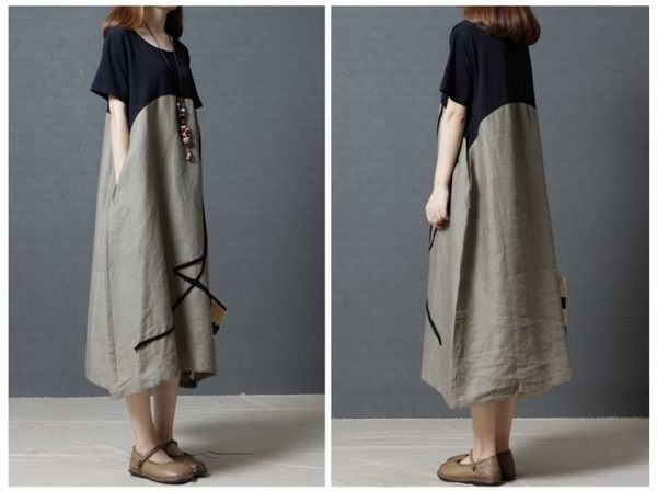 漂亮小媽咪 文青洋裝 【D8715】 棉麻 薄款 撞色 拼接 短袖 孕婦裝 孕婦連衣裙 長裙 長洋裝