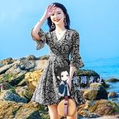 沙灘裙 紅色小個子雪紡洋裝女夏季2019新款海邊度假碎花沙灘裙超仙短裙 2色