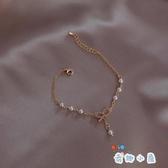 現貨 蝴蝶結手鏈韓版簡約百搭森系閨蜜珍珠手環【奇趣小屋】