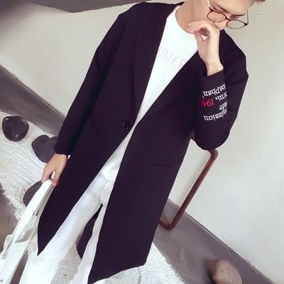 風衣外套-時尚字母刺繡一粒扣中長版翻領男大衣3色73ip11[時尚巴黎]