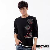 BIG TRAIN 七分袖雷神櫻花家徽T恤-男-黑