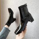 快速出貨 短靴高跟鞋短靴女單靴高跟瘦瘦靴子粗跟白色小短靴女彈力靴【 【全館免運】】
