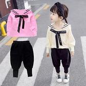 女寶寶洋氣女童韓版1兒童兩件套連帽T恤5歲半套裝