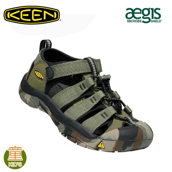 【KEEN 美國 童 NEWPORT H2 護趾涼鞋《軍綠/迷彩》】1022840/水陸兩用鞋/戶外休閒鞋/兒童涼鞋