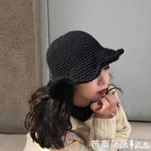 漁夫帽 女士秋冬韓版百搭毛線帽子保暖針織盆帽日系文藝卷邊盆帽『快速出貨』