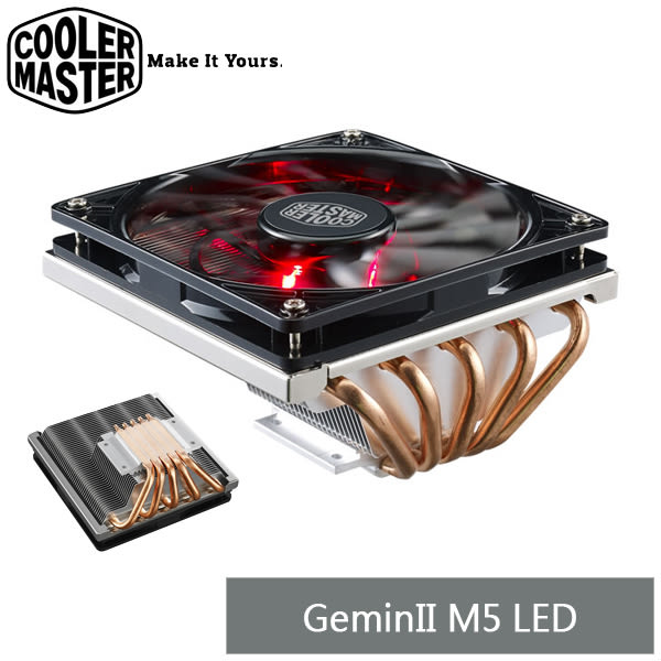 【免運費】CoolerMaster GeminII M5 LED 下吹式熱導管散熱器  / 全高62.7mm ( RR-T520-16PK )